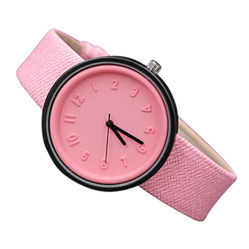 Gold Lover Watch (Clearance Sale!Unisex Simple Numbers Watches,Shinericed Lovers Fashion Analog Quartz Canvas Belt Wrist Watch Valentine's Day Gift (Pink))