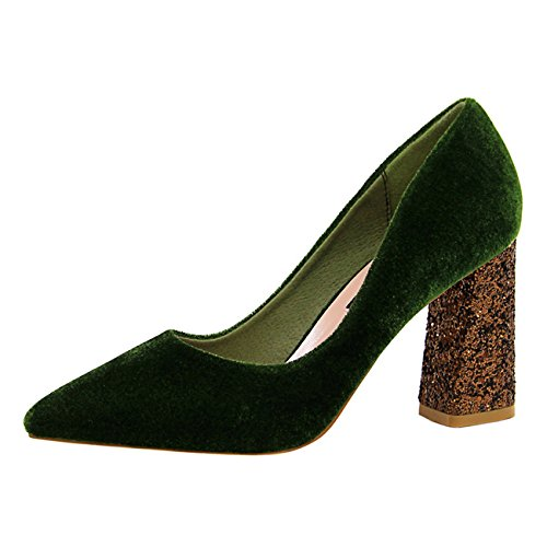 d20ae82a3df Mashiaoyi Women s Pointed-Toe Block-Heel Slip-on Sequins Court Shoes - Buy  Online in Oman.