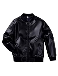 Lau's Boys Leather Bomber Jacket Faux Leather Biker Coats Outerwear Jackets