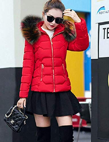 Acolchada Elegantes Fashion Pluma De Piel Imitación Chaqueta Manga Slim Espesar Capucha Caliente Mujer Estilo Larga con Especial Plumas Fit De Rojo Invierno Chaqueta wY0qxt