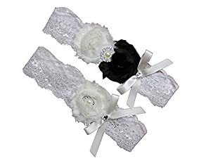 Black And White Ivory Lace Wedding Garter Set W Pearl Rhinestone Bow Prom
