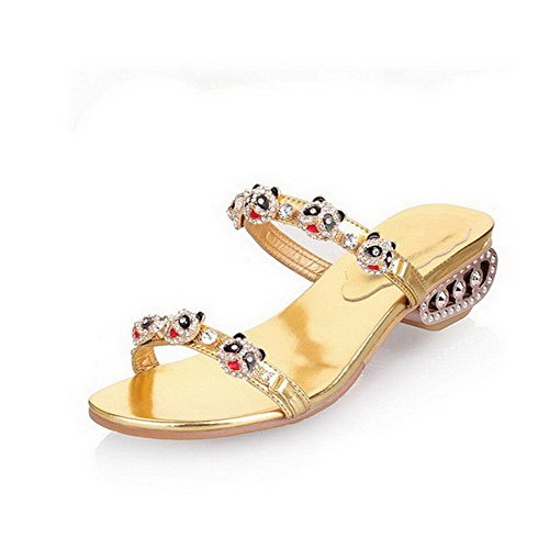 Heels Soft Womens VogueZone009 On Toe Gold Material Slippers Solid Open Pull Low pR66x8wSq