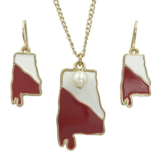 Gypsy Jewels Colorful Alabama State Shape Map Necklace & Earrings Set (Crimson Red & White)