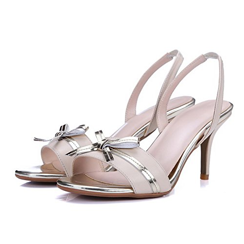 AmoonyFashion Womens Open Toe Spikes Stilettos Pull On Assorted Color Sandals Apricot MfaXoAIOa