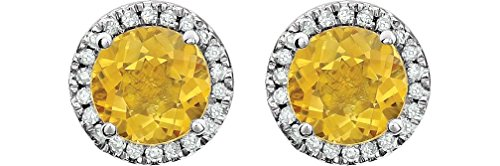 Citrine and Diamond Halo Button Earrings, Rhodium-Plated 14K White Gold (.13 Cttw, Color HIJ, Clarity I1-I2) by The Men's Jewelry Store (for HER)