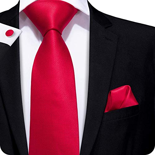 (Hi-Tie Men Classic Red Solid Tie Necktie with Cufflinks and Pocket Square Tie)
