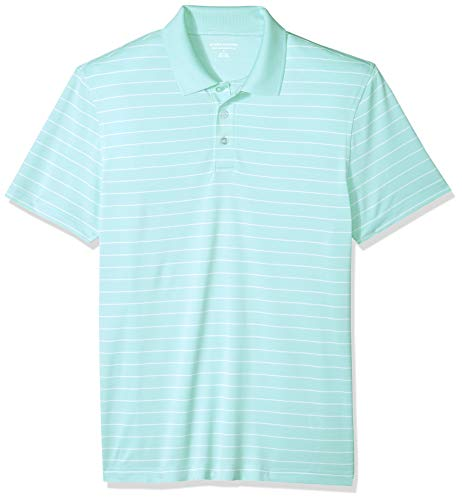 Amazon Essentials Men's Slim-Fit Quick-Dry Golf Polo Shirt, Aqua Stripe, Small