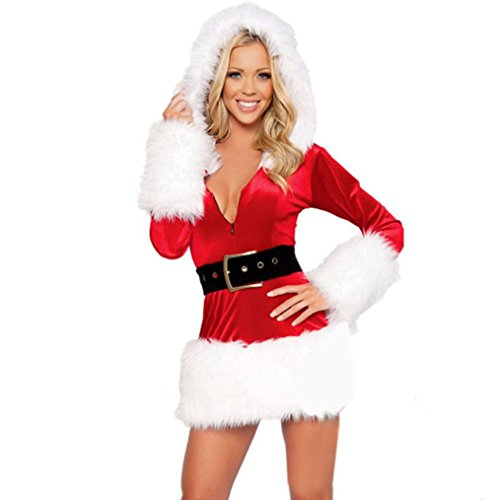 Hot Sale!Women Christmas Dress,Canserin Womens Santa Costume Christmas Party Uniform Temptation Dress Cosplay Suit With Belt (Long Sleeve Plus Size Costume)