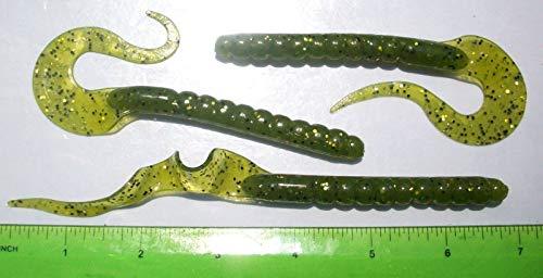 - Strike 50pc Watermelon Gold & Black FL 7'' Ripple Worms Bass Fishing Baits Ribbon Worm