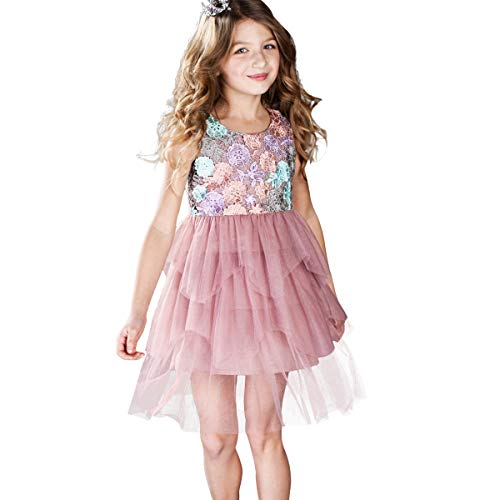 CNMUDONSI Children Dresses Girls Lace Summer Kids Pink Party Dress Size 5-10 Years Old (F26021-6) -