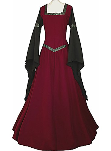 Plus Size Medieval Dress (Womens Medieval Dress Renaissance Costumes Irish Over Long Dress Cosplay Retro Gown)