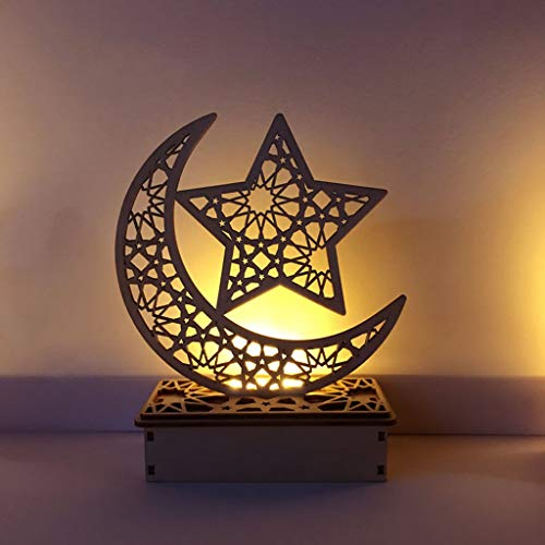(Wooden Ramadan Eid Mubarak, Moon Star Islam Hanging Pendant Plate with LED String Lights, Ornament for Home Party )