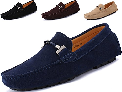 Lightweight Moccasins - Go Tour New Mens Casual Loafers Moccasins Slip On Driving Shoes Blue 12/48