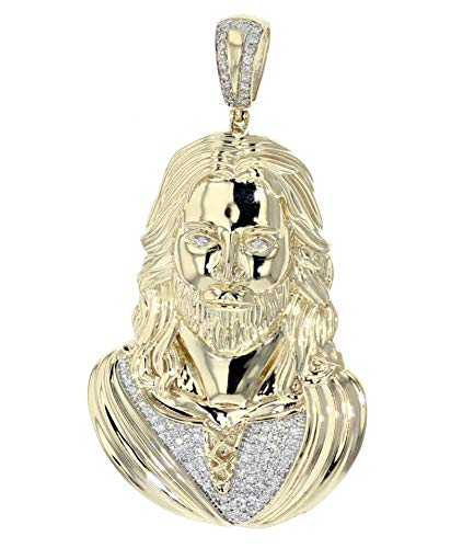 Midwest Jewellery 14K Gold Jesus Pendant Solid Gold 32gms 0.77ctw Round Diamonds Custom Made Mens Large Jesus Cross Charm 2.6 Inch Tall