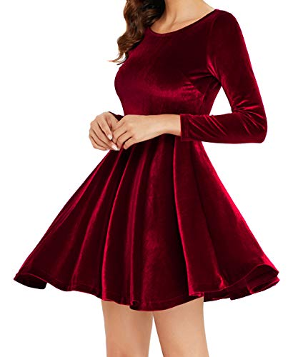 (Annigo Women's Red Velvet Short Fit and Flared Cocktail Dresses with Sleeve,Burgundy,Medium )