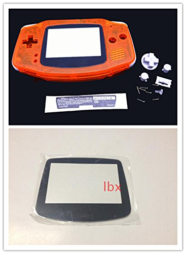 junsi-clear-orange-housing-shell-case-cover-w-lens-for-nintendo-gameboy-advance-gba