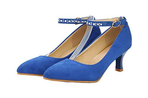 FBUIDD006859 Ballet Tacco Fibbia AllhqFashion di Azzurro Donna Pelle Puro Medio Mucca Flats xAZaBAUw