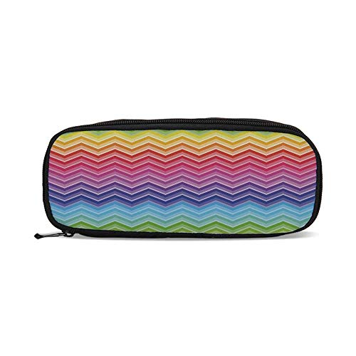 Rainbow,Rainbow Colored Chevron Line Art Wave Like Pattern Symmetrical Geometric Shapes,9.4