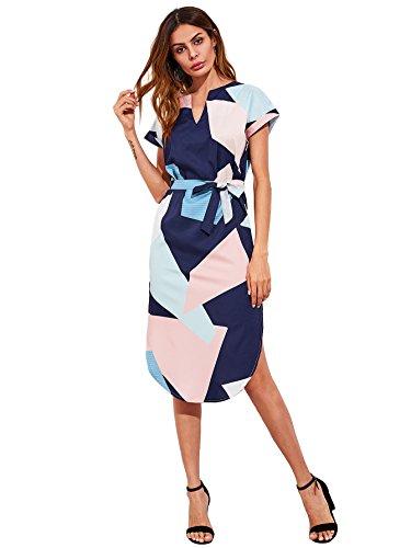 MAKEMECHIC Women's V Neck Geometric Print Colorblock Slit Belted Midi Dress Navy-Multi L