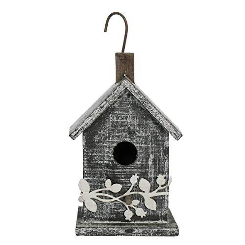 Later M Wood Bird House 9.5″ by 2019 Grayish-White Simplicity Handicrafts Birdhouse Garden Decoration