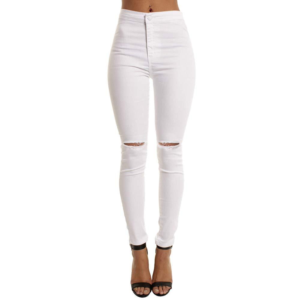 Pantalon Femme Taille Haute troué Slim Chic, Koly Jeans Crayon Femme troué rétro Blanc Noir Pantalons Droit Moulant Stretch 2018 Automne Hiver Casual Dames Leggings Skinny Trousers Femme Pants