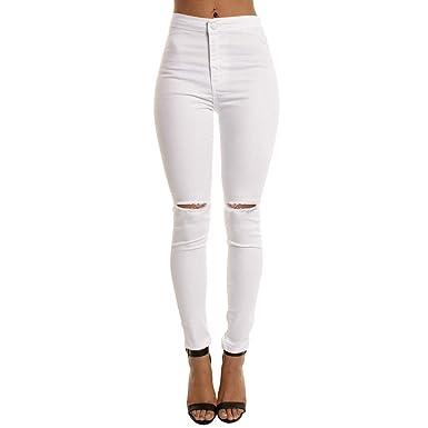 Pantalones Vaqueros Rotos Cintura Alto para Mujer Invierno Primavera,PAOLIAN Vaqueros Cintura Negro Tallas Grandes Blanco Leggings Skinny Pantalones ...