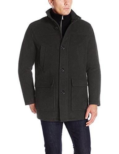 - Cole Haan Signature Men's Wool Plush Car Coat with Attached Bib, Charcoal, Medium
