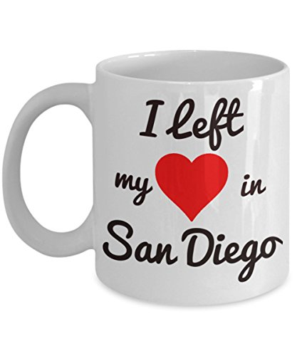 San Diego Mug - San Diego Gifts - I Left My Heart in San Diego - For the Spring Break or Summer Vacation Traveler Headed to California - Coronado, San Diego Zoo, Balboa Park - Coronado Springs