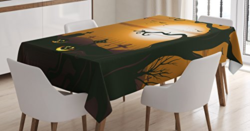 Ambesonne Halloween Tablecloth, Leafless Creepy Tree with Twiggy Branches at Night in Cemetery Graphic Drawing, Dining Room Kitchen Rectangular Table Cover, 60