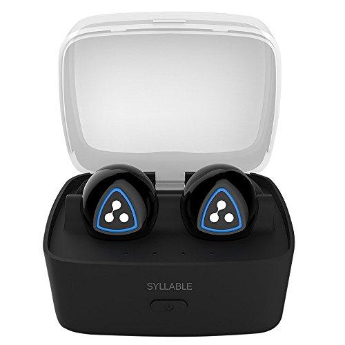 Syllable D900S Auriculares Bluetooth 4.1 inalámbrico in-ear sin cable con Caja de carga Inteligente, Headset manos libres con micrófono para iPhone, Samsung y otros Smart Phones (Negro)
