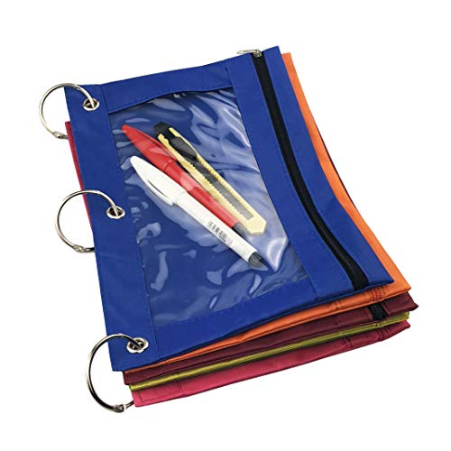 Miukada 3-Ring Pencil Pouches.Zippered Binder Pencil Bags Pencil Cases with Clear Window.Used for Storing School,Office,Artist Supplies.(6 Color Pouches Packed)(Free Bonus of Three 1.5'' Binder Rings) by Miukada (Image #3)