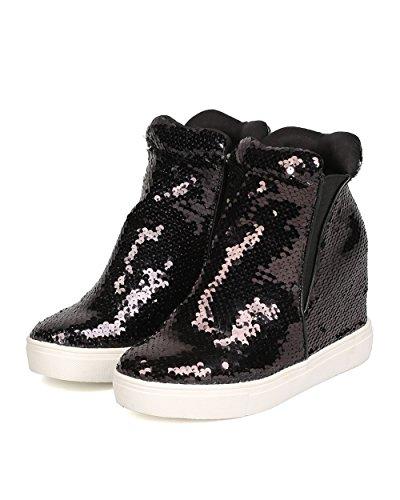 CAPE ROBBIN Women Sequin High Top Hidden Wedge Sneaker GB22 - Black (Size: 11) by CAPE ROBBIN (Image #4)