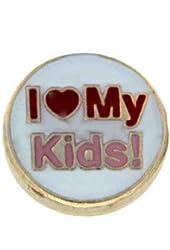 I Heart My Kids Floating Locket Charm