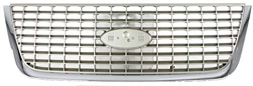 Grille Assembly Compatible with 2003-2006 Ford Expedition Chrome Shell/Painted Silver Insert Eddie Bauer Model