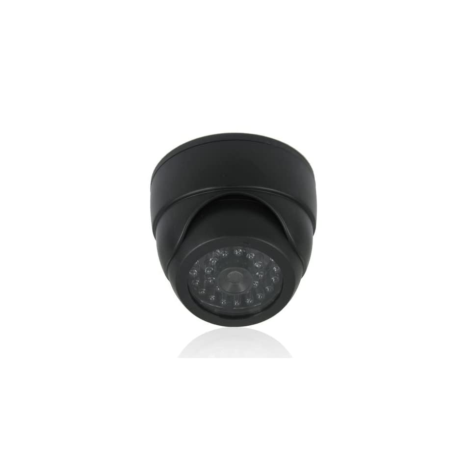 ePathChina® Black Color Quality Hard ABS Plastic Dummy Dome Security Camera with 30 Pcs False IR LED + Red Activity LED Light Suitable for Indoor / Outdoor Environment   Upgrade Your Security Quickly