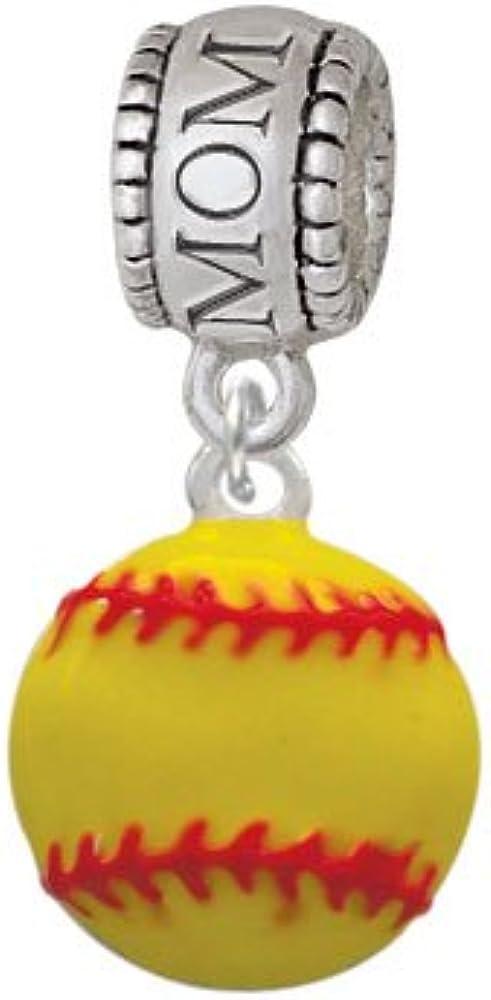 Family Charm Bead Silvertone Large Optic Yellow Softball