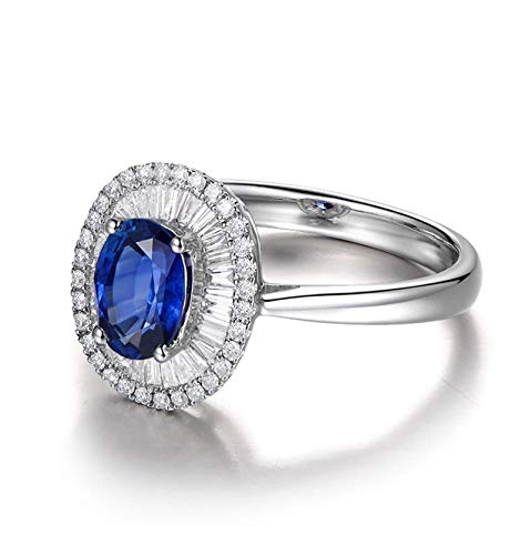 KnSam Blue Oval Sapphire Sterling Silver Jewelry Wedding Rings for Women Size ()