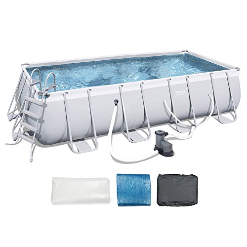 Bestway Power Steel 18 x 9 x 48 inches Rectangular Frame Pool Set