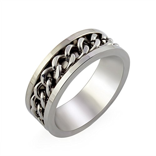 HIJONES Jewellery Mens European Style Rotatable Chain Stainless Steel Ring (Available in Sizes M - Z+2)