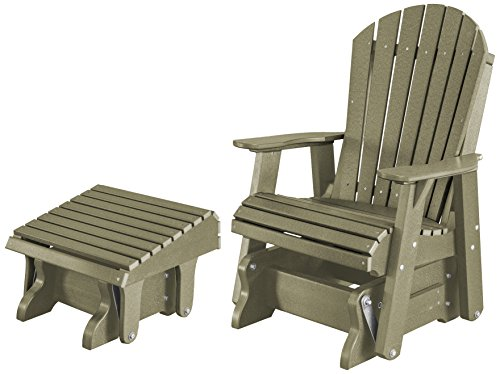 Heritage Glider - Little Cottage Company LCC-106/LCC-118-Olive Heritage Single Rock-a-Tee Poly Glider and Footrest Set, Olive