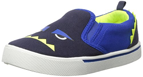 OshKosh B'Gosh Boys' Austin Monster Face Slip-on Shoe Sneaker, Navy/Neon, 10 M US Toddler