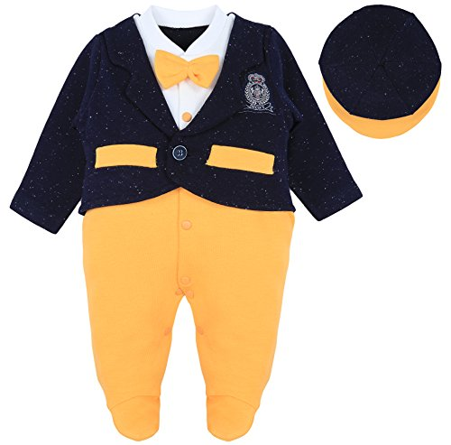 Lilax Baby Boy Tuxedo Suit Footie with Hat 2 Piece Outfit Set 6-9 Months (Halloween Photo Shoot Ideas For Infants)