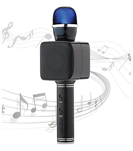 Lightweight Wireless Karaoke Microphone Bluetooth Portable Karaoke Microphone Flashing Lights Aluminum Alloy USB/TF Kids Microphone Karaoke Machine for Valentines Day Gifts iOS Android Support - Su Warehouse