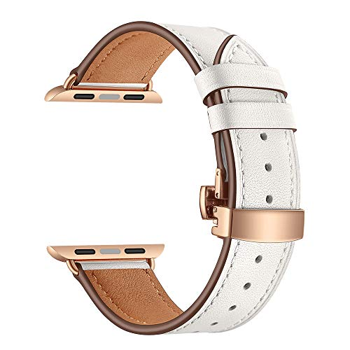 Price comparison product image Morrivoe Fashion Leather Wrist Watch Strap Band Butterfly Buckle Compatible with IWatch 4 Apple Watch 44mm