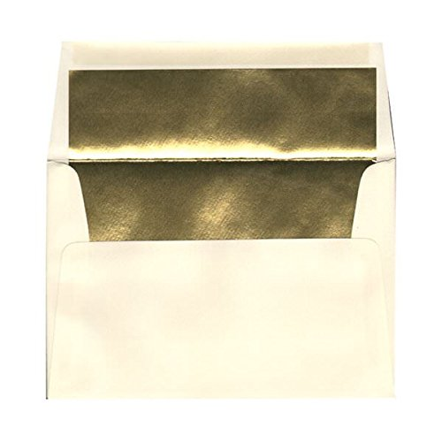 - JAM PAPER A8 Foil Lined Invitation Envelopes - 5 1/2 x 8 1/8 - Ecru with Gold Foil - 25/Pack