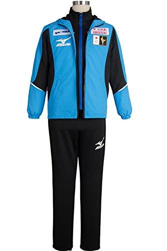 [Costhat High School Sportswear Japanese Team Uniform Coat Top Jacket Pants Cosplay Costume (Male:XX-Large, Blue] (Cubs Fan Costume)