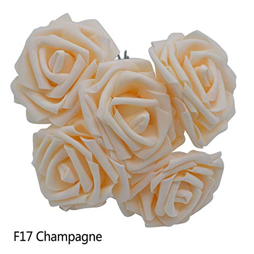 10 Heads 5 Heads 8CM Artificial PE Foam Rose Flowers Bridal Bridesmaid Bouquet Wedding Home Decoration Scrapbook DIY Supplies Champagne 10 Heads ()