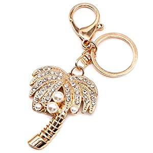 WSSROGY Glitter Crystal Rhinestone Artificial Pearls Insert Alloy Keychain for Wedding, Party, Holiday Cubic Coconut Palm Tree Shaped Gift 46