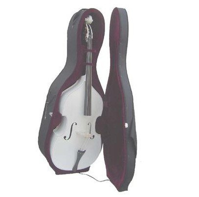 Merano 3/4 Size White String Bass with Hard Case, Bag, Bow, 2 Sets of Strings+Music Stand+Metro Tuner by Merano