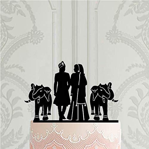 (Hindu wedding cake topper with elephant Indian wedding decor)